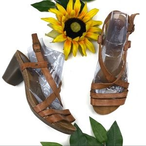 Miz Mooz Leather Strappy Ankle Strap Sandal Heels